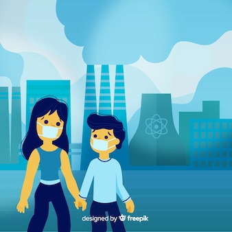Pollution concept with people in front of power plant