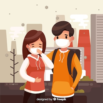 Pollution concept with young couple in city