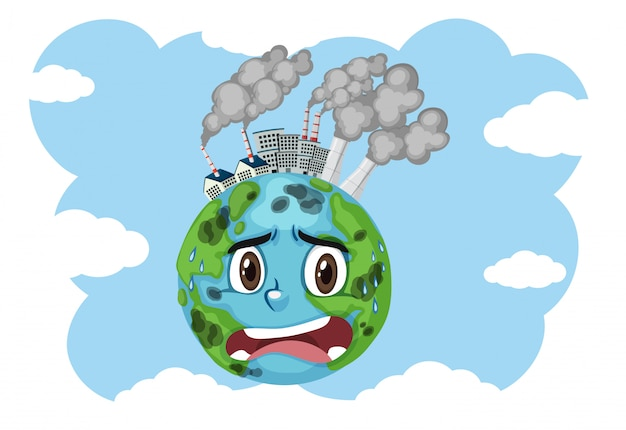 Pollution on earth with factory buildings and dirty smoke