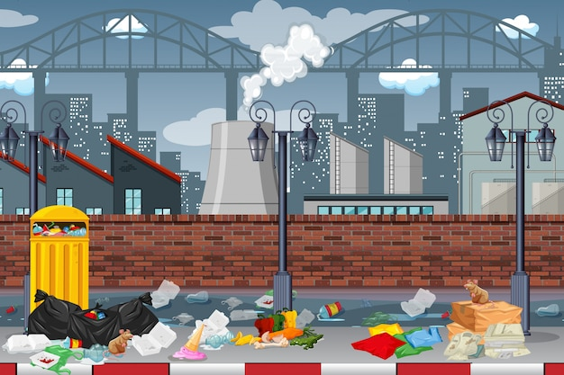 Pollution in factory town