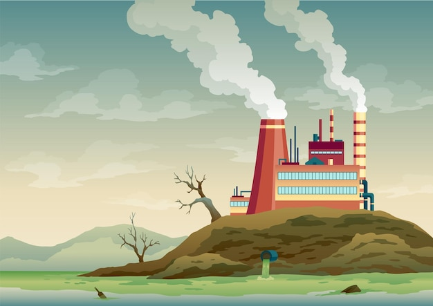 Pollution factory with pipes smoke comes out. trash emission to river water. landscape with ecological disaster. nature ecology elements and ecology problem concept in flat style.