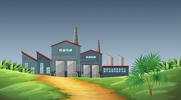 Pollution from factory theme scene in nature
