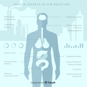 Pollution on human body infographic