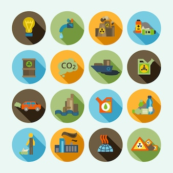 Набор иконок загрязнения