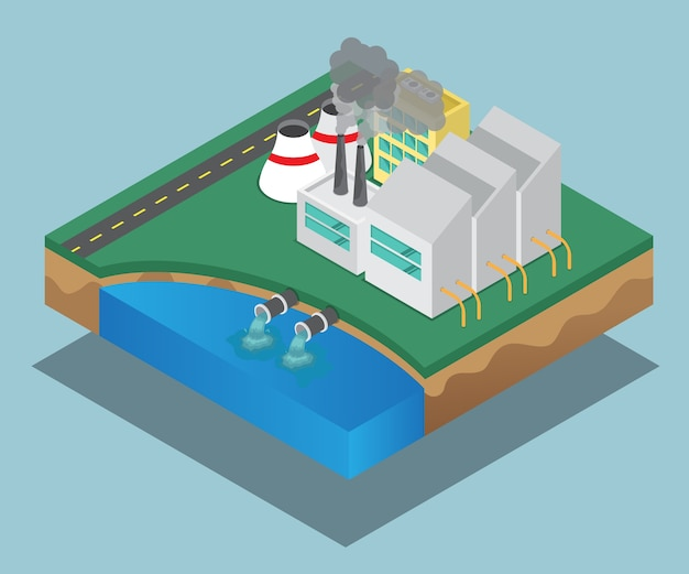 Pollution of industrial factory vector isometric