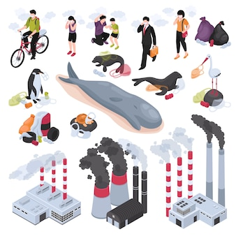 Pollution isometric set with water and air pollution symbols isolated