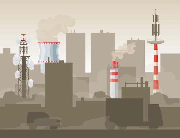 공장이나 공장으로 인한 도시 오염. 차량, 튜브, 스모그 평면 그림