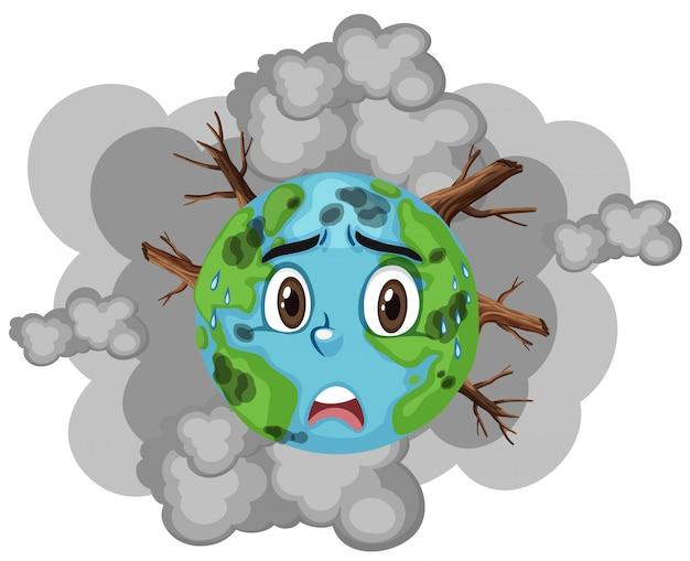Загрязнение на земле с большим количеством дыма и вырубки лесов