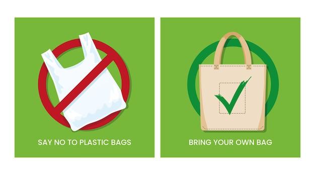 오염 문제 개념 비닐 봉지에 자신의 섬유 가방을 가져 오는 것을 거부합니다. 벡터 일러스트 레이 션