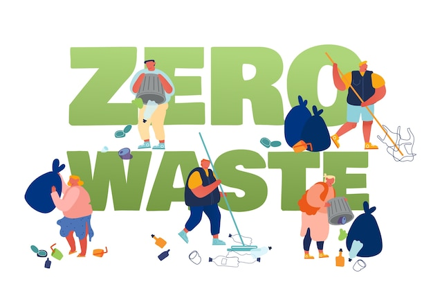 Pollution recycling ecology zero waste concept. people removing trash, cleaning earth surface with rakes.