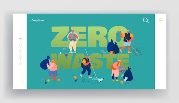 Pollution recycling ecology zero waste website landing page.