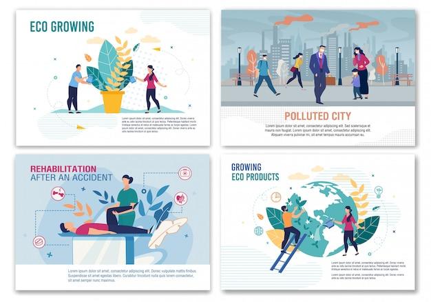 Pollution, rehabilitation, eco growing template set