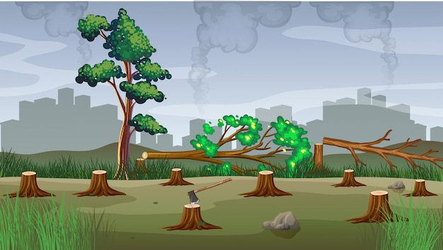 Pollution theme with deforestation illustration
