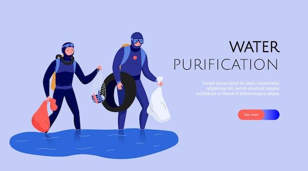 Веб-баннер загрязнения с людьми, собирающими мусор и очищающими воду
