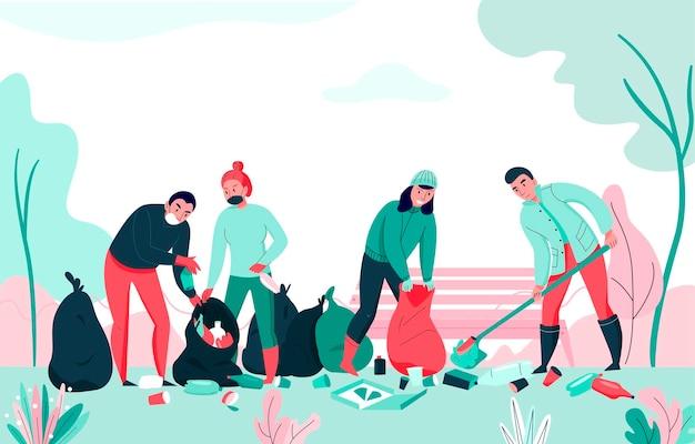 Inquinamento con un gruppo di persone che raccolgono spazzatura in un appartamento del parco
