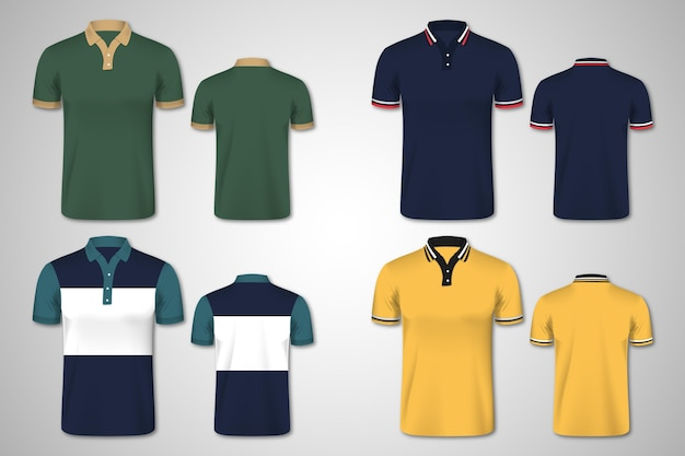 Polo shirt front and back collection