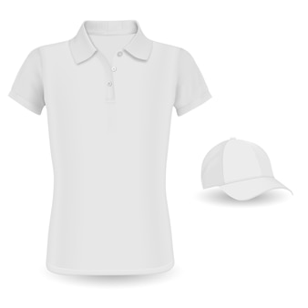 Polo shirt mockup. vector tshirt and baseball cap