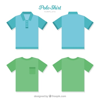 Polo shirt template with bottons and pocket