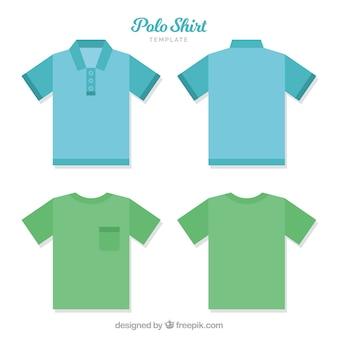 Шаблон поло-футболки с пуговицами и карманом