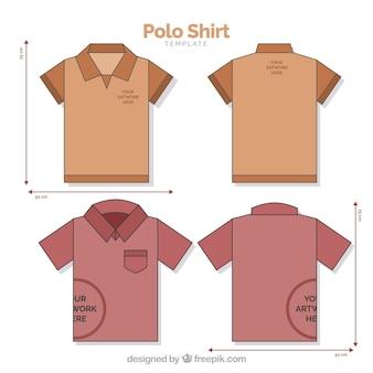 Polo shirt template with mesures