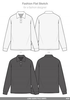 Polo shirts fashion flat technical drawing template