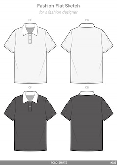 Polo shirts fashion flat technical drawing template