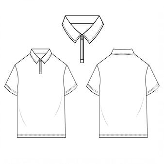 Polo shirts men fashion flat sketch template