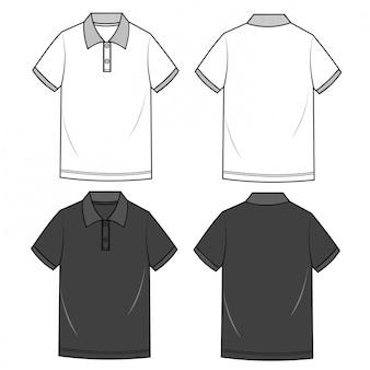 Polo shirts menファッションフラットスケッチテンプレート