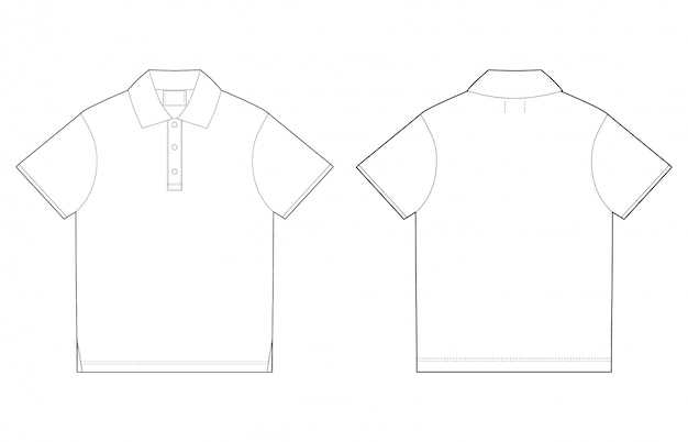 Polo t-shirt design template. front and back