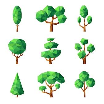 ポリツリー。緑の自然の季節の植物は、様式化された幾何学的形態の低ポリ画像をベクトルします。イラスト幾何学的な木の植物、緑の森のポリゴングラフィック