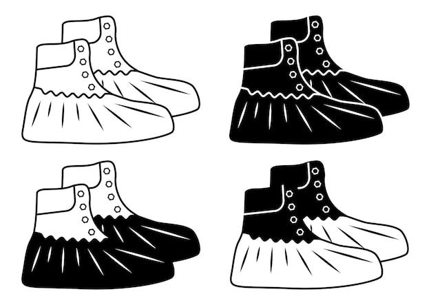 靴用のポリエチレンカバー。抗菌プラスチック製の靴カバー。保護医療カバー。アウトラインとグリフスタイルのミリタリーブーツ。白い背景で隔離のベクトル