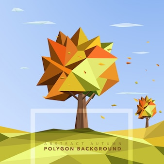Polygon autumn trees background