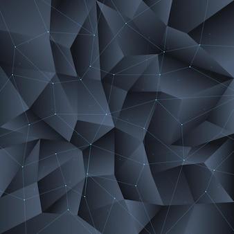 Sfondo di cristallo nero poligono con struttura di linee di collegamento. poligono del modello di sfondo, poligono geometrico di cristallo, struttura del poligono della forma.