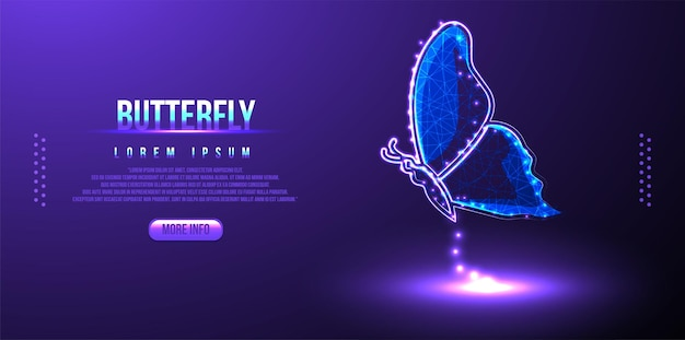 Polygon butterfly on block chain technology network hud background low poly wireframe