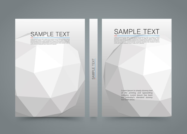Polygon cover. banner 3d sphere book. a4 size paper, template design element, vector