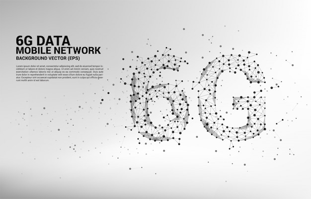 Polygon dot connect line shaped 6g mobile network.