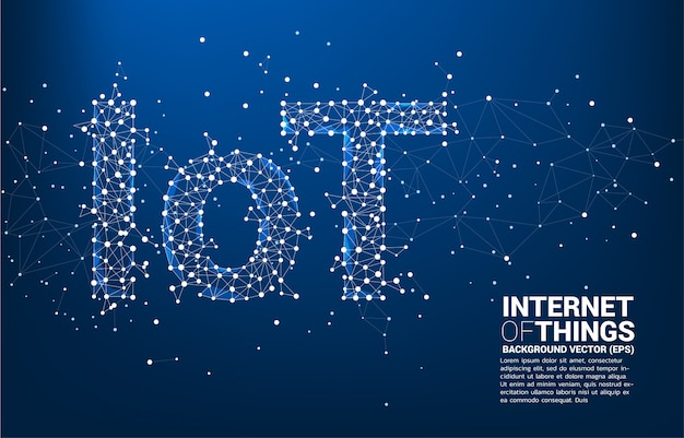 Polygon dot connect line shaped iot wording  background template
