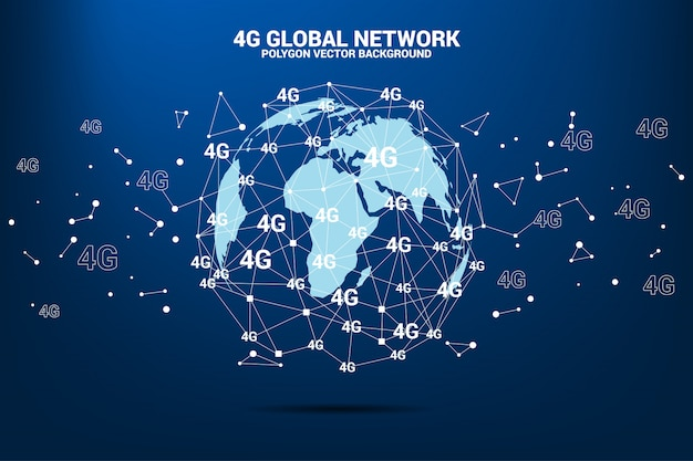 Polygon dot connect line with 4g around world map globe.