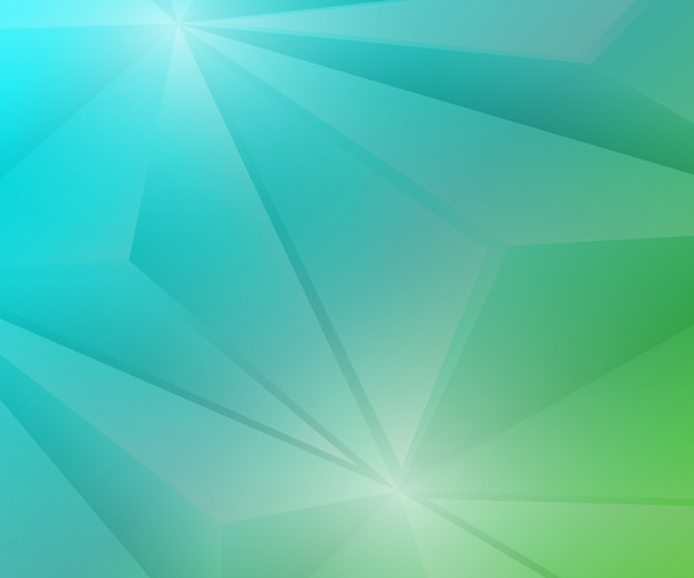 Polygon geometric green and blue gradient background.
