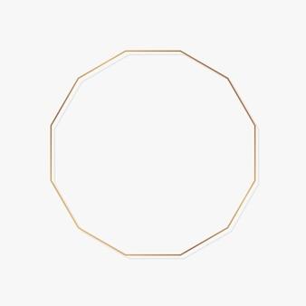 Polygon gold frame on white background