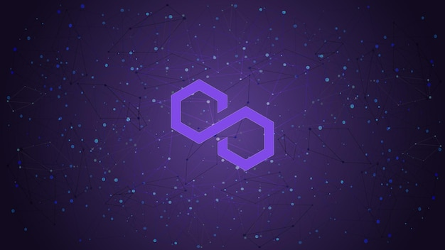 Polygon matic token symbol cryptocurrency theme on purple polygonal background. cryptocurrency coin logo icon. vector illustration.