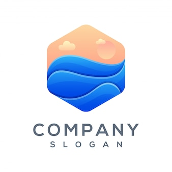 Polygon wave logo ready to use