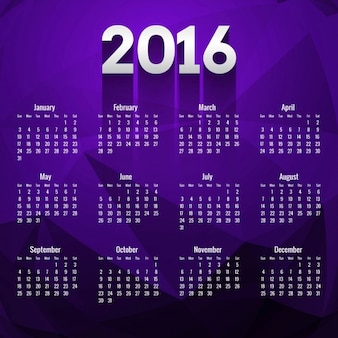 Polygonal 2016 calendar in purple color
