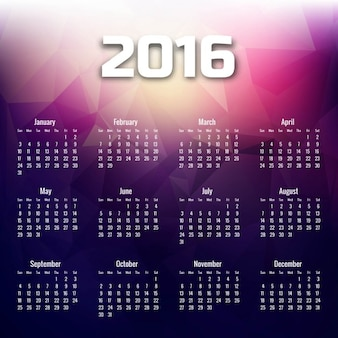 Polygonal 2016 calendar in purple tones