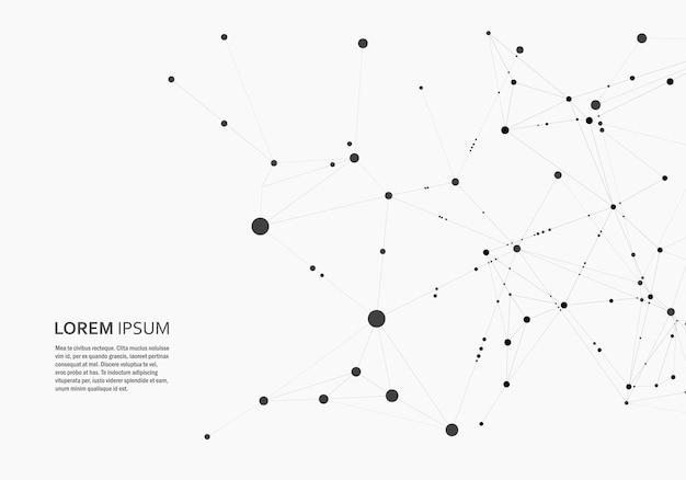 接続された直線と点と多角形の抽象的な背景。