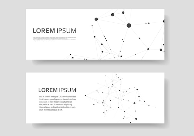 Polygonal abstract banner with connected line and dots