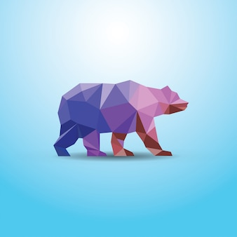 Polygonal abstract  bear illustration
