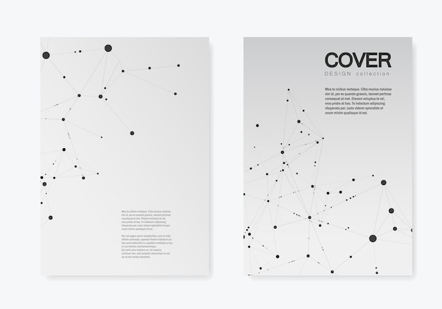 Polygonal abstract cover with connected line and dots