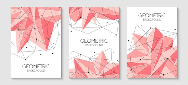 Polygonal abstract futuristic pink template
