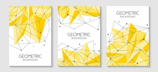 Polygonal abstract futuristic yellow backgrounds